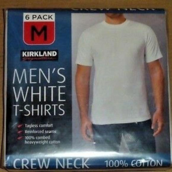 Kirkland Mens size M Cotton Crew Neck Basic T-Shirt Tee White Solid Short Sleeve